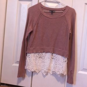 Sweater with lace detail accent